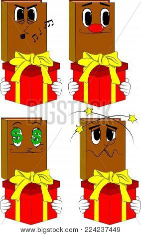 Books holding big gift box. Cartoon book collection with various faces. Expressions vector set.