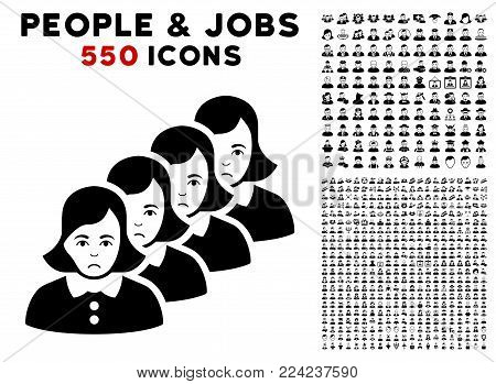 Pitiful Woman Queue icon with 550 bonus pitiful and happy people graphic icons. Vector illustration style is flat black iconic symbols.