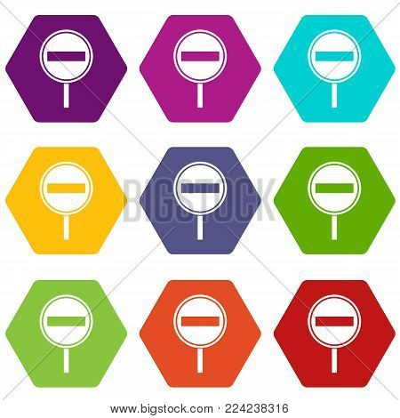 No entry sign icon set many color hexahedron isolated on white vector illustration
