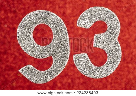 Number ninety-three silver color over a red background. Anniversary. Horizontal