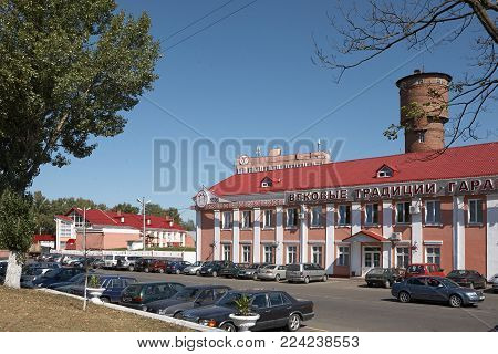 Gomel, Belarus - September 22, 2011: The Meat Processing Plant. Processing Of Pork And Beef. Machine