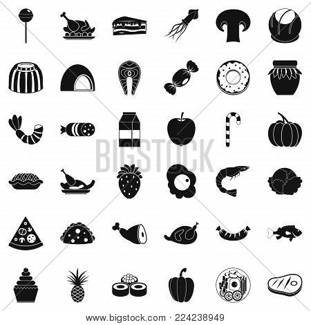 Semolina icons set. Simple set of 36 semolina vector icons for web isolated on white background