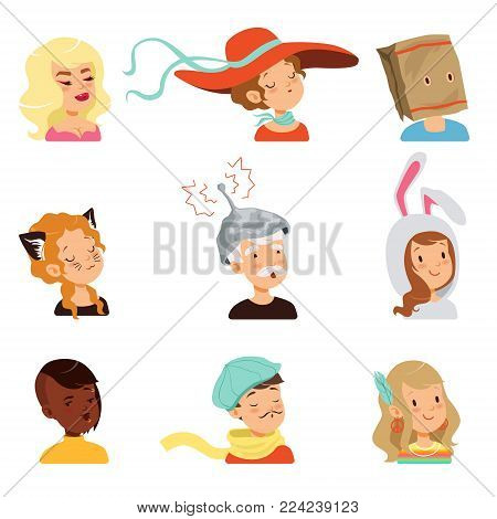 Strange people characters set, different funny faces vector illustrations isolated on a white background