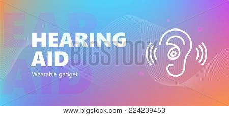 Vector illustration of hearing aid wearable technology icon.