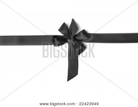 black ribbon bow isolated on white background poster