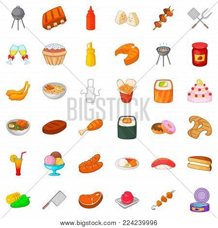 Buffet table icons set. Cartoon set of 36 buffet table vector icons for web isolated on white background