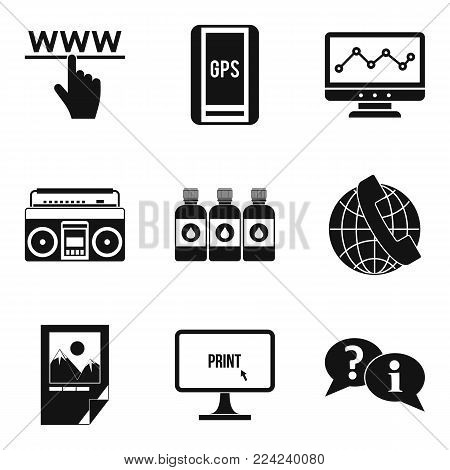 Computer science icons set. Simple set of 9 computer science vector icons for web isolated on white background