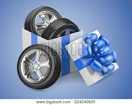 White open cardboard box gift with car tires wheels and red bow on a cap. 3d illustration isolated on a blue background.