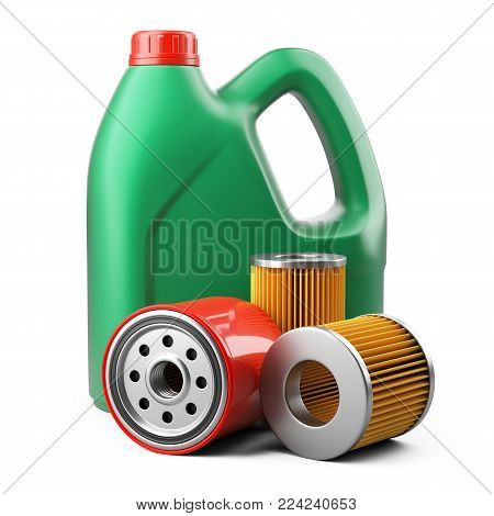 Plastic canister with motor oil and new filters. 3d lllustration isolated on white background.