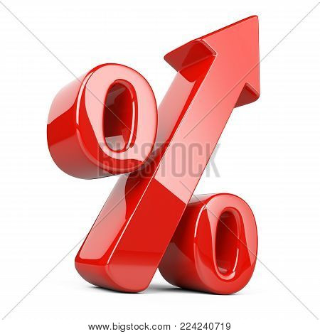 business, arrow, percentage, up, finance, sale, sign. 3D rendering