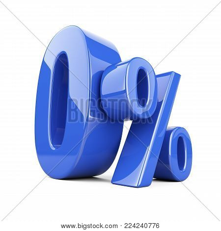 Glossy blue zero percent or 0 % special Offer. Isolated over white background 3d illustration.