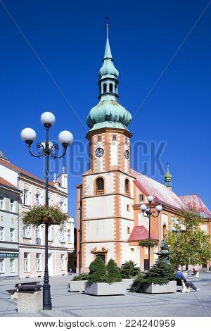 CZECH REPUBLIC, SOKOLOV - SEPT 22, 2015: historical center with st Jacob church in town Sokolov, West Bohemia, Czech republic. Protected town preserve.