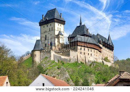 medieval gothic royal castle with ramparts  Karlstejn near Prague, Central Bohemia region, Czech republic. National cultural landmark.