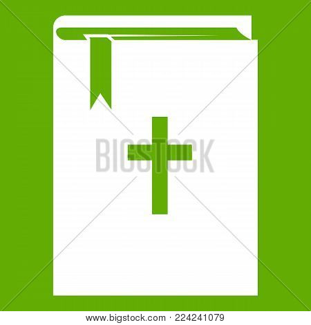 Bible icon white isolated on green background. Vector illustration