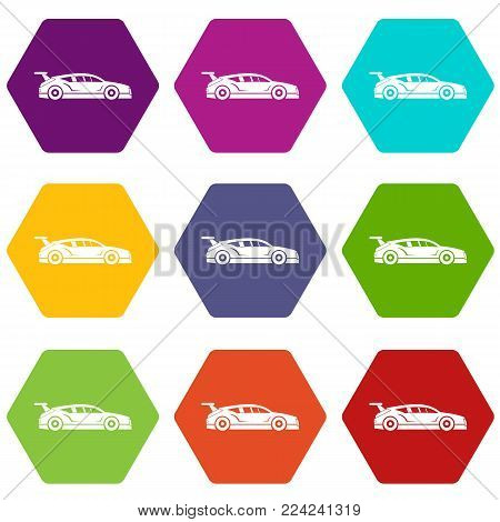 Rally racing car icon set many color hexahedron isolated on white vector illustration