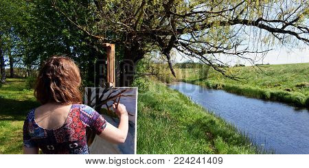Woman Artist Paints Landscape Painting. A Beautiful Summer Day Panorama. Painter Rear View.