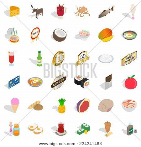 Vital activity icons set. Isometric set of 36 vital activity vector icons for web isolated on white background