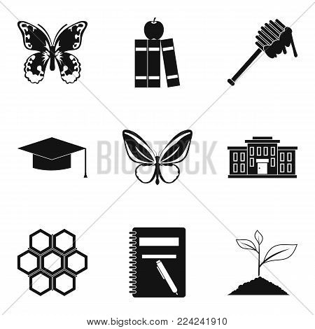 Beetle icons set. Simple set of 9 beetle vector icons for web isolated on white background
