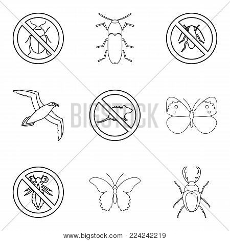 Kill insect icons set. Outline set of 9 kill insect vector icons for web isolated on white background