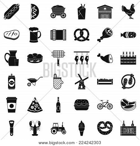 Delicious meal icons set. Simple set of 36 delicious meal vector icons for web isolated on white background