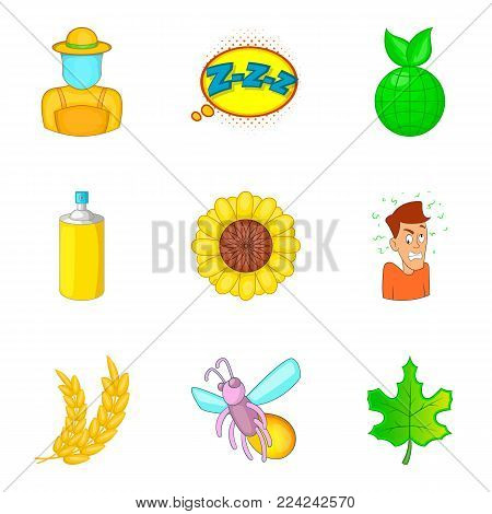 Small insect icons set. Cartoon set of 9 small insect vector icons for web isolated on white background