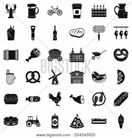 Delicacy icons set. Simple set of 36 delicacy vector icons for web isolated on white background