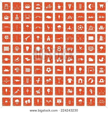 100 childrens playground icons set in grunge style orange color isolated on white background vector illustration