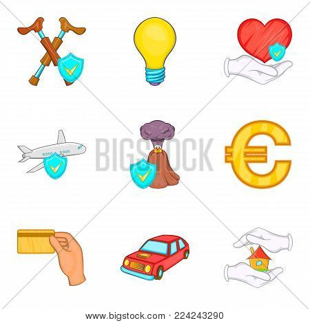 Insurance activity icons set. Cartoon set of 9 insurance activity vector icons for web isolated on white background