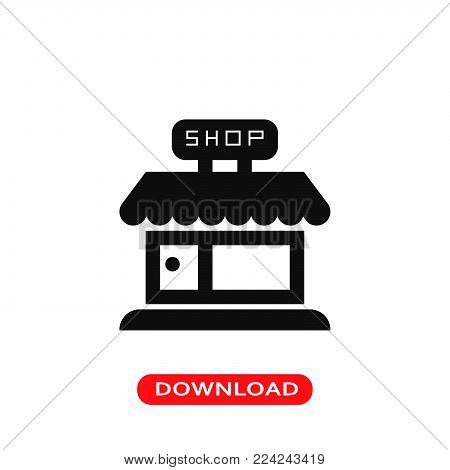 Shop icon vector in modern flat style for web, graphic and mobile design. Shop icon vector isolated on white background. Shop icon vector illustration, editable stroke and EPS10. Shop icon vector simple symbol for app, logo, UI.