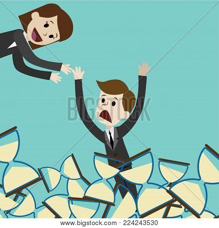 Businessman and manager. Moneymaking. Cartoon Vector Illustration
