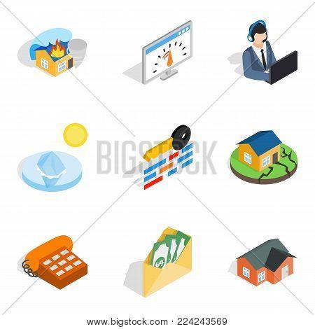 Insurance broker icons set. Isometric set of 9 insurance broker vector icons for web isolated on white background
