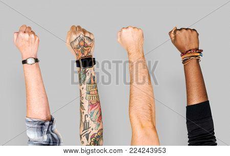 Variation raising hands up