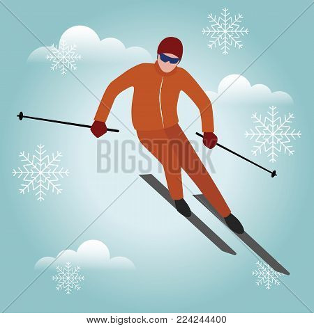 Isometric isolated vector man skiier. Urban style and hot tricks in park. Snowboarding, winter sport. Olimpic games, recreation lifestyle, activity speed extreme