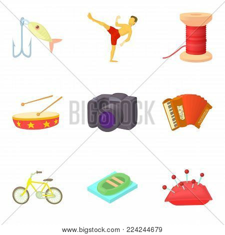 Special hobby icons set. Cartoon set of 9 special hobby vector icons for web isolated on white background
