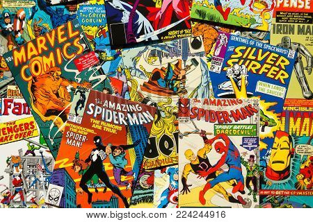 Prague, Czech Republic - January 29: Colorful Vintage Comic Magazine Covers Top View Flat Lay Compos