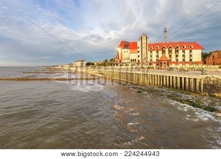 Zelenogradsk, Russia - July 25, 2017: The embankment  in the evening on a summer day. Kaliningrad region.