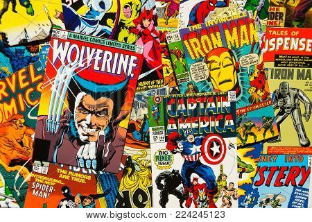 Prague, Czech Republic - January 29: Colorful Vintage Comic Magazine Covers Top View Flat Lay Compos