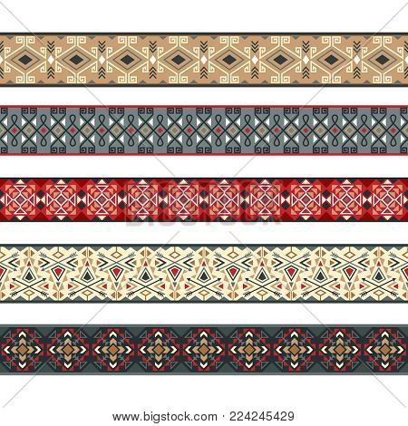 Native ribbon patterns. American indian ribbons, nativity tribal stripe borders vector illustration