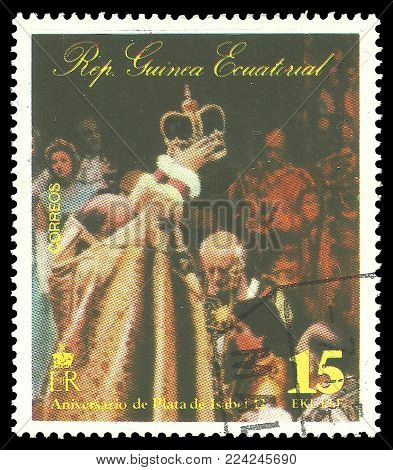 Guinea Equatorial - circa 1977: Stamp printed by Guinea, Color edition on 25th Coronation Anniversary, shows Queen Elizabeth II in a coronation scene, circa 1977