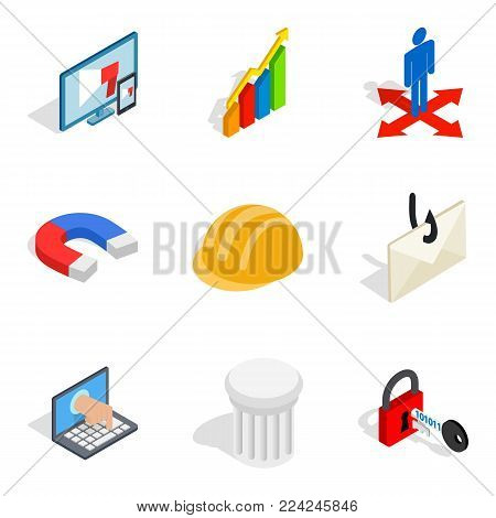 Front end icons set. Isometric set of 9 front end vector icons for web isolated on white background
