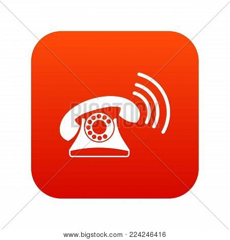 Retro phone icon digital red for any design isolated on white vector illustration