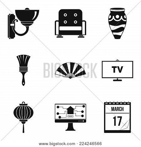 Inner part icons set. Simple set of 9 inner part vector icons for web isolated on white background