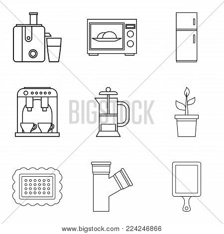 Internal part icons set. Outline set of 9 internal part vector icons for web isolated on white background