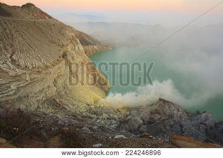 Sunrise on Volcano Ijen. Java island. Indonesia.