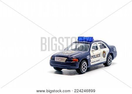 Chonburi, Thailand - January 25, 2018:  Police car toy on white background