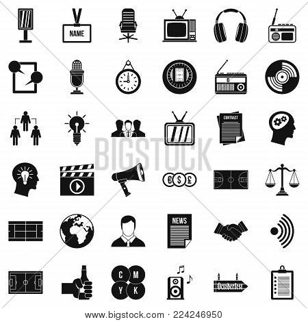 Service channel icons set. Simple set of 36 service channel vector icons for web isolated on white background
