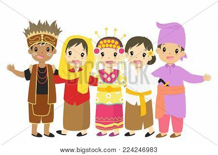 Indonesian children, boys and girls wearing traditional dress cartoon vector. Papua, Jakarta, South Kalimantan, Bali, and Riau traditional dress