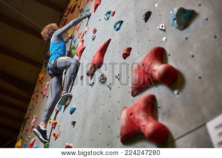 Young sportsman grabbing by grips on climbing wall while moving upwards