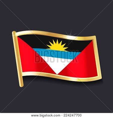 flag of  Antigua and Barbuda in the form of badge, flat image