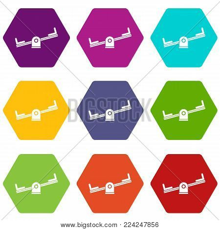 Seesaw icon set many color hexahedron isolated on white vector illustration